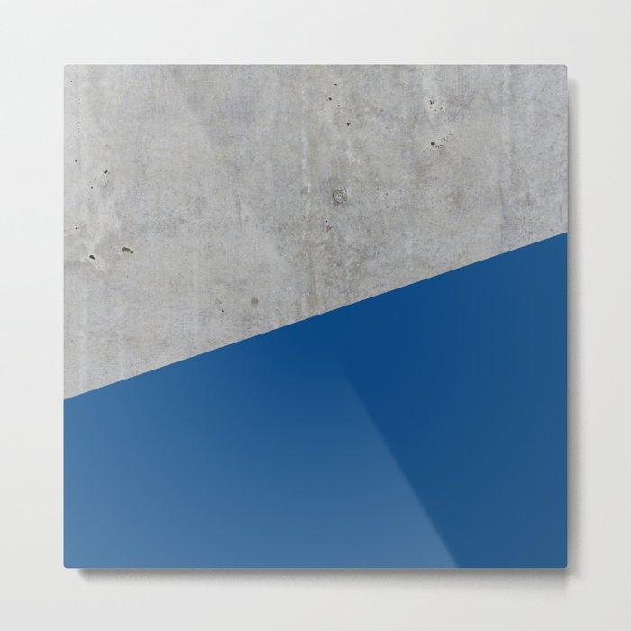 Concrete and lapis blue color Metal Print