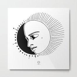 Half Moon Face Metal Print