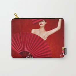 Classic Red Campari Girl with Fans Alcoholic Aperitif Vintage Advertising Poster Carry-All Pouch