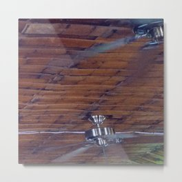 Wood Ceiling, Chrome Fans Metal Print