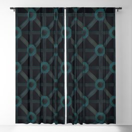 Teal on black 3D pattern Blackout Curtain