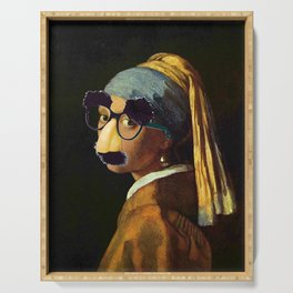 Girl With The Pearl Earring and Groucho Glasses Serving Tray