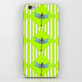 LIME GREEN COLOR BLUE  DRAGONFLY GEOMETRIC ART iPhone Skin
