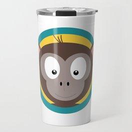 Cute Monkey Head with blue cirlce Travel Mug