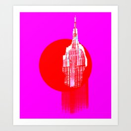 Architecture building red pink Art Print