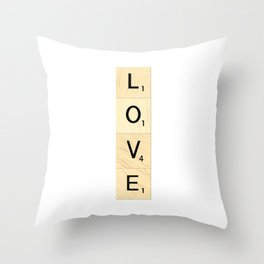 LOVE - Vertical Scrabble Letter Tiles Art Throw Pillow