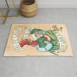 Alan-A-Dale Rooster : OO-De-Lally Golly What A Day Tattoo Watercolor Painting Rug
