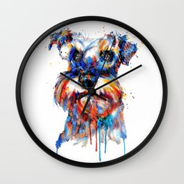 Schnauzer Head Watercolor Portrait Wall Clock