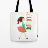 library Tote Bags featuring Library Girl by Stephanie Fizer Coleman
