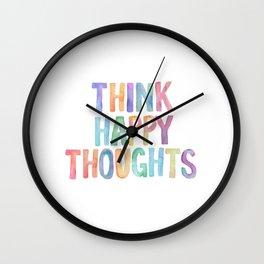 Think Happy Thoughts, Nursery Wall Art Kids Room, Nursery Printables, Baby Girl Nursery Wall Art Wall Clock