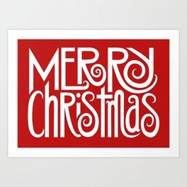 Merry Christmas Text White Art Print