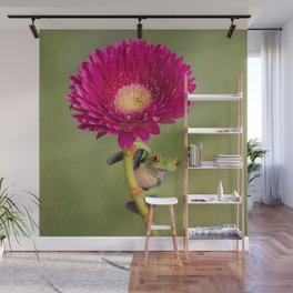 Red Eyed Tree Frog on a Flower Wall Mural