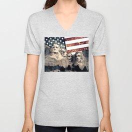 Patriotic Mount Rushmore Unisex V-Neck