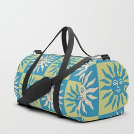 Mid Century Modern Sun Pattern Turquoise and Chartreuse Duffle Bag