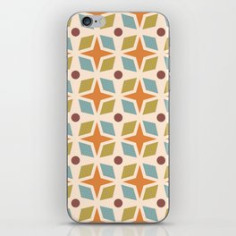 Mid Century Modern Abstract Star Dot Pattern 441 Orange Brown Blue Olive Green iPhone Skin
