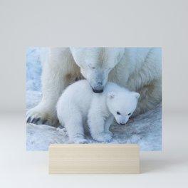 Polar Bear Mother and Cub portrait. Mini Art Print