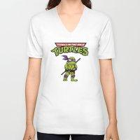 ninja turtle V-neck T-shirts featuring Ninja Turtle by flydesign