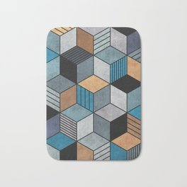 Colorful cubes - blue, grey, brown Bath Mat