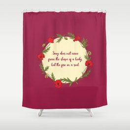 Poppy wreath with a quote Shower Curtain