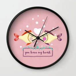VALENTINE'S FISH IN LOVE Wall Clock