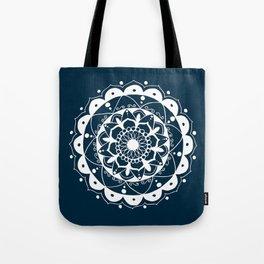 Simple white mandala on navy blue Tote Bag