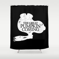 peanuts Shower Curtains featuring Game of Peanuts by Mike Handy Art