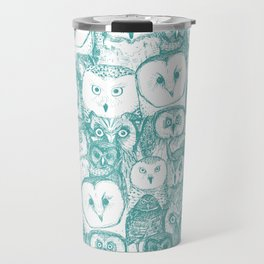 just owls teal blue Travel Mug