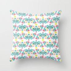 Folk Flowers White Throw Pillow