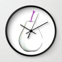 pear Wall Clocks featuring Pear by Xchange Art Studio
