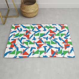 Ornaments damask seamless green red blue dots squares triangles decorative graphic vector pattern-04 Rug
