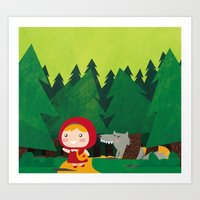red riding hood Art Prints featuring Little Red Riding Hood by parisian samurai studio