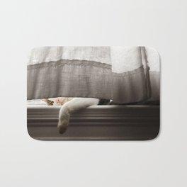 Cat Napping On A Window Sill Bath Mat
