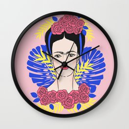 Tribute to Frida #1 Wall Clock