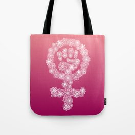 FEMINIST FLORAL FIST Tote Bag