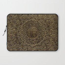 Decorative Ek Onkar / Ik Onkar  embossed on gold Laptop Sleeve