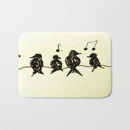 Birds on a Wire Ink Doodle Bath Mat