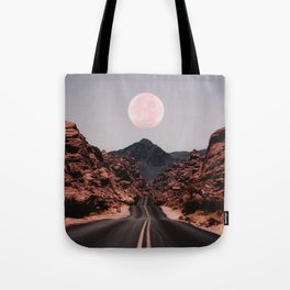 Road Red Moon Tote Bag