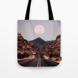 Road Red Moon Tote Bag