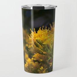 Macro photo golden flowers Travel Mug