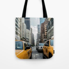 Taxis on New York City Street Tote Bag
