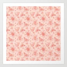 Pink Lily Flower Pattern 1 Art Print