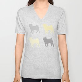 Grey and Yellow Pugs Pattern Unisex V-Neck