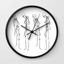 Black Ink Illustration of Two Human Skeletons Wall Clock