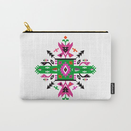 Fuchsia and Green Ethnic Aztec Ornament Carry-All Pouch