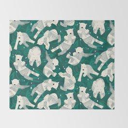 arctic polar bears green Throw Blanket