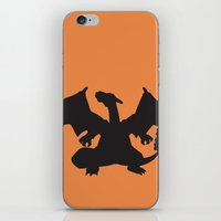 charizard iPhone & iPod Skins featuring Charizard Silhouette by Jessica Wray