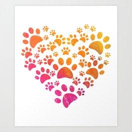 Animal Paws Heart design For Dog Lovers Art Print