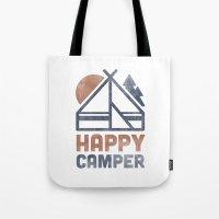 backpack Tote Bags featuring Happy Camper by Zeke Tucker
