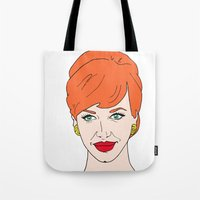 mad men Tote Bags featuring Joan Holloway - Mad Men  by Aishling K