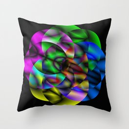Concentric Vibrancy - Abstract, neon, geometry artwork Throw Pillow